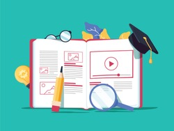 Vector creative illustration, online e-learning, distance learning, web design, online courses. Book and educational student hat, search glass, lamp for idea and glasses with a pencil courses concept.