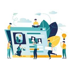 vector creative illustration, online news, social networks, virtual communication, information retrieval, company news, site construction  vector