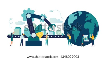 Vector creative illustrations of business graphics, an employee engaged in recycling garbage, save the planet, save energy, Earth Day concept vector - vector