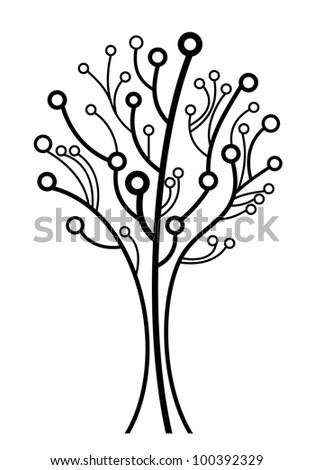 vector creative line tree silhouette