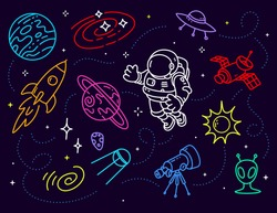 Vector creative neon illustration of cosmonaut in spacesuit and space objects on dark background with star. Astronaut exploring outer space. Line art style design for the holiday cosmonautics day card