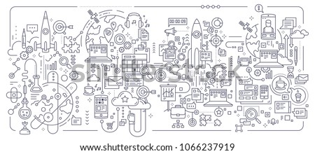 Vector creative set of business concept illustration on white background. Technology business process composition template. Hand draw flat thin line art style monochrome black and white banner design