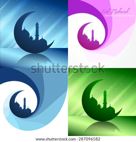 vector creative set of ramadan festival background with mosque illustration