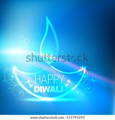 vector creative shiny diwali diya on blue background