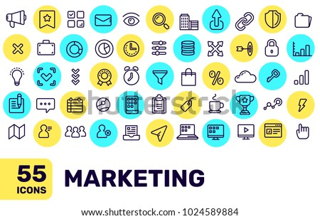 Vector creative thin line marketing icon big set with bright color spot on white background with title. Line art flat style design of liner icon for marketing web, site, banner, presentation
