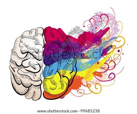 vector creativity concept - brain illustration - stock vector