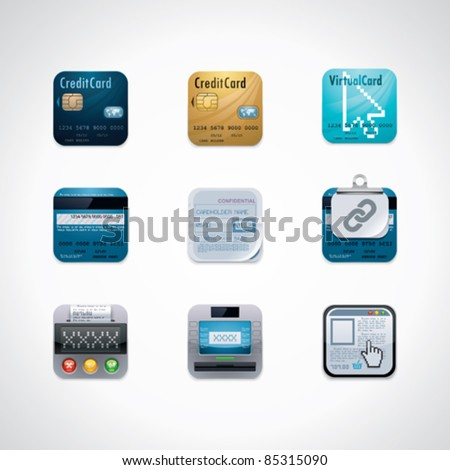 Vector credit card square icon set