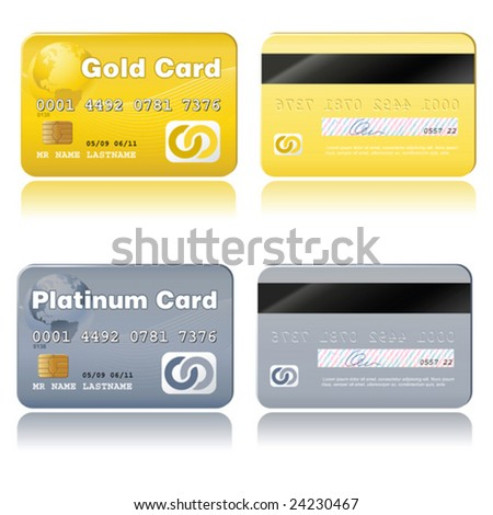 vector credit cards, platinum and gold