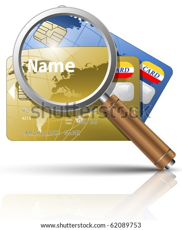 Vector credit cards with magnifying glass