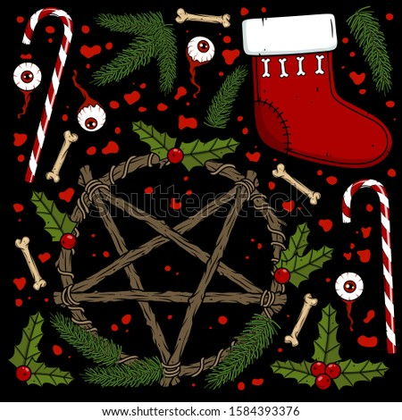 Vector creepy art with pentagram, fir branches, sock, eyeballs, blood, candy, bones for scary Christmas design and decor. Spooky illustration for the New Year party invitation, web page, print, poster