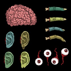 Vector creepy colorful body parts. Нorror art of brain, ears, fingers, eyeballs for scary design, print, poster, cover, sticker. Spooky illustration for horror festival, party, Halloween design.