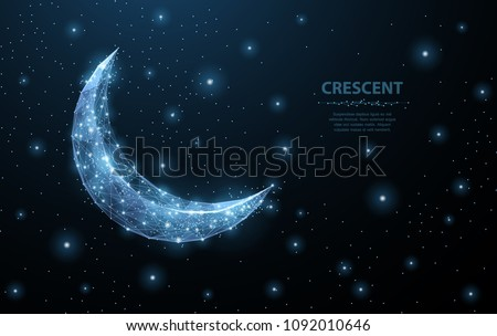 Vector crescent moon. Abstract polygonal wireframe moon illustration on dark blue night sky background with stars of universe space. Night symbol. Arabic, islamic, muslim, ramadan design