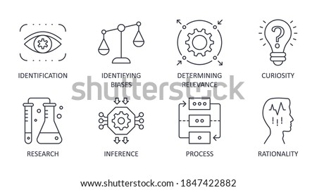 Vector critical thinking icons. Editable stroke. Rationality of process identification research. Curiosity identifying biases inference determining relevance Сток-фото ©