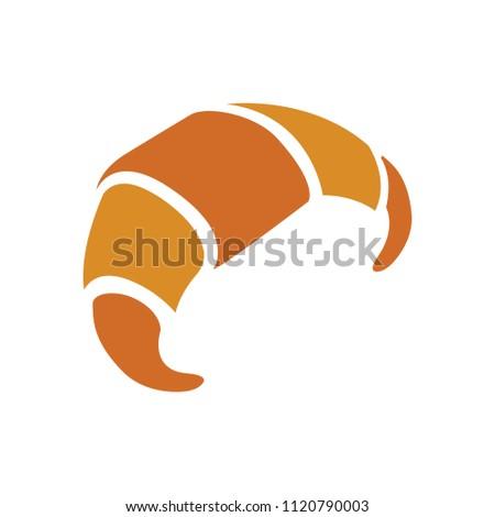 vector croissant illustration, bakery food breakfast symbol - pastry dessert sign