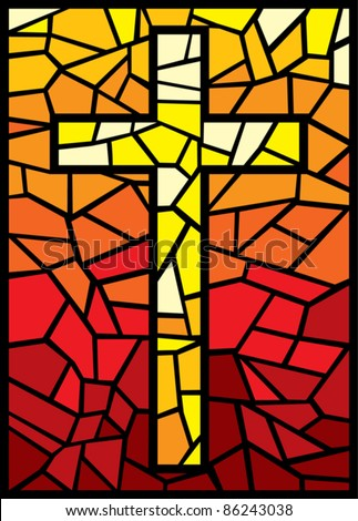 vector cross in stained glass style