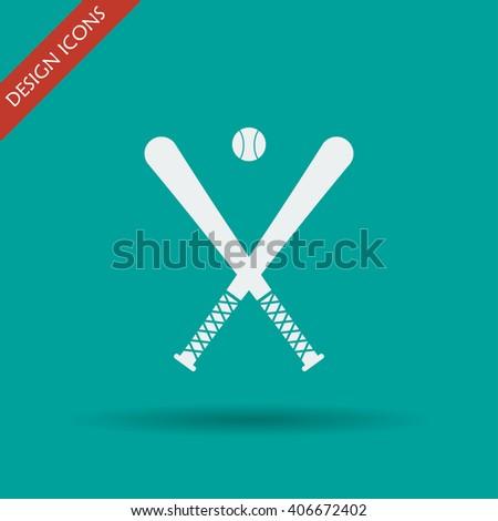Vector crossed baseball bats and ball set.
