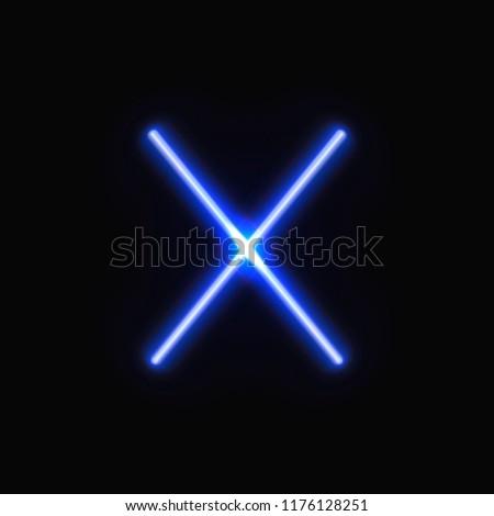 vector crossed blue neon lines