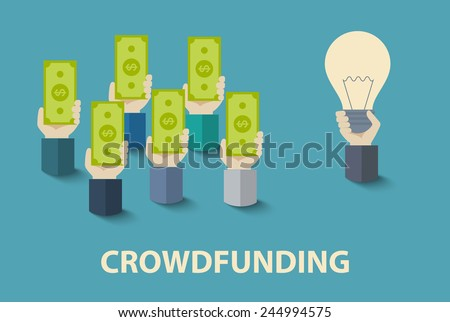 Vector crowd funding concept with a businessman funding project by raising monetary contributions from crowd of people in new business model