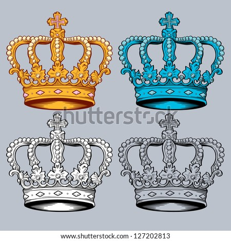 vector crown in four different colorways. It goes from 1 to 4 color versions of the crown for many design uses.