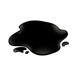Vector crude oil blob isolated at white background. Black liquid spill.