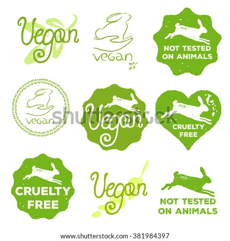 vector cruelty free icons set