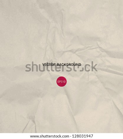 Vector crumpled beige recycled paper background