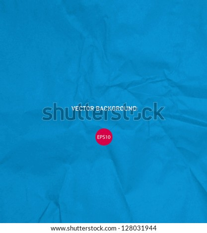 Vector crumpled bright blue paper background