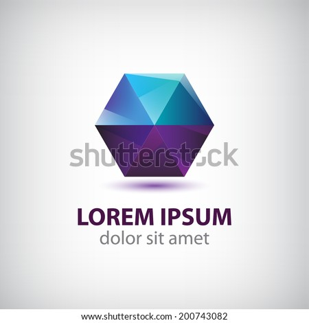 Stock Photo vector crystal geometric abstract icon, logo for your company isolated