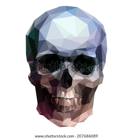 vector crystal skull on white