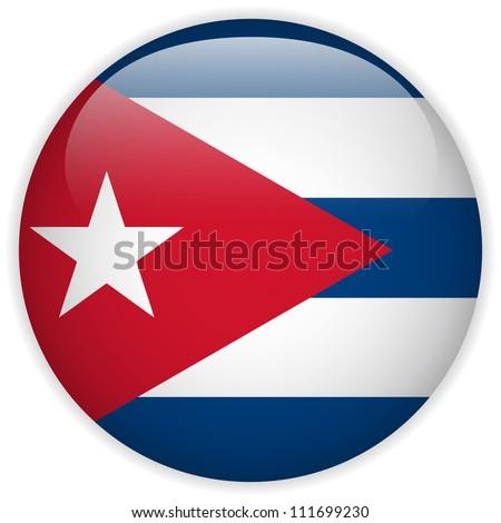 vector   cuba flag glossy button