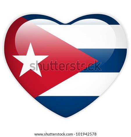 Vector - Cuba Flag Heart Glossy Button
