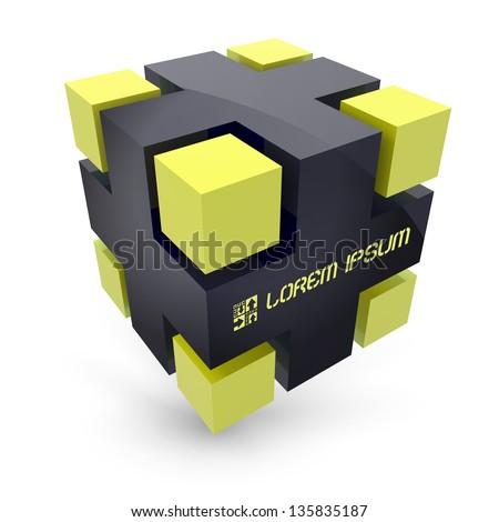 Vector cube. 3D illustration.