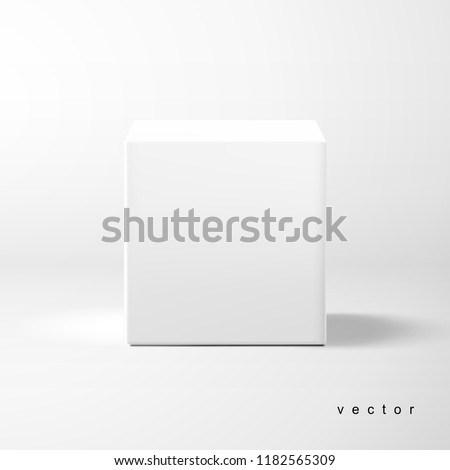 Vector cubic box template. Front view