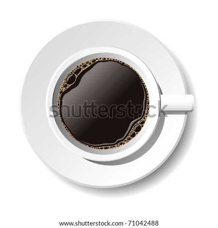 vector cup of coffee on the white background