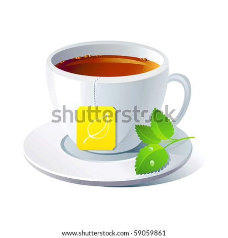 Vector cup of tea with mint on white background