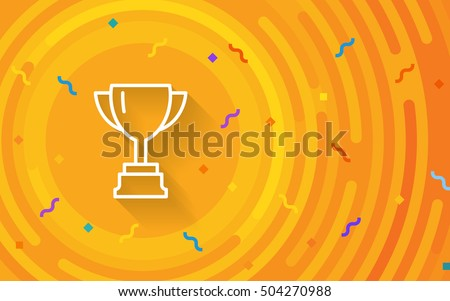 Vector cup. Thin line victory bowl. Trophy super vase icon. White super cup isolated on orange background. Triumph prize. Victory icon. Prize symbol. First place goblet. Minimalist hipster mug. EPS 10
