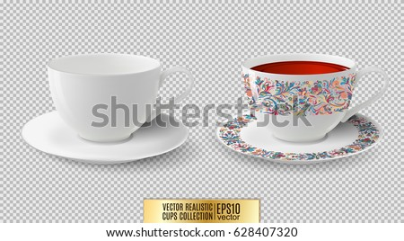 Vector cup. White ceramic cup with saucer. Cup of tea.