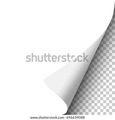 Vector curled corner of sheet of white paper, soft shadow and transparent background. Element for ad.