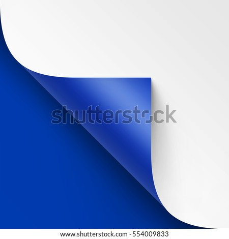Vector Curled corner of White paper with shadow Mock up Close up Isolated on Bright Blue Background Foto d'archivio ©