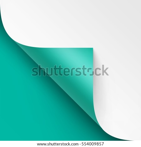 Vector Curled Metalic corner of White paper with shadow Mock up Close up Isolated on Turquoise Mint Background