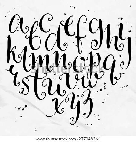 vector curly alphabet artistic