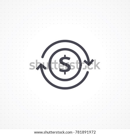 Vector currency circulate icon. Automatic recurring payments. Billing cycle line icon for apps and websites. Money transfer vector illustration