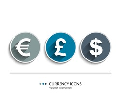 Vector currency icons set, dollar, euro, pound