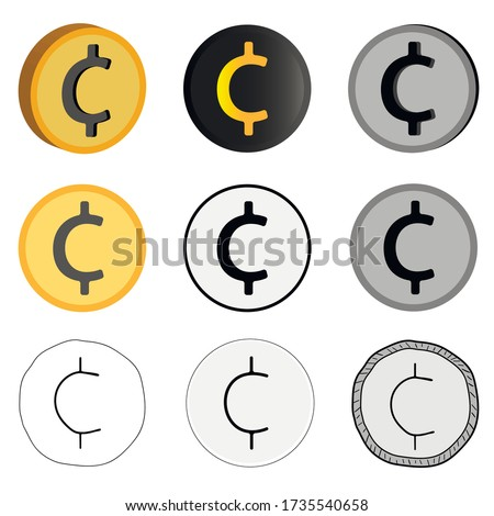Vector currency illustration, nine cent options in vector. Cent icons in different styles. Stock photo ©