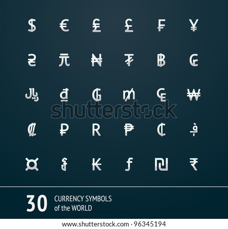 Vector currency symbols world money 29x29 silver on the dark background