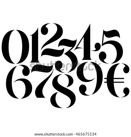 Vector custom design elegant numbers and Euro symbol