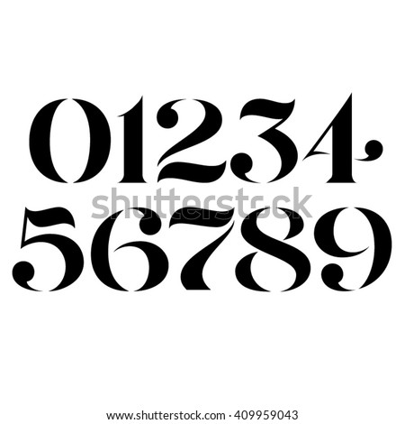 Vector custom designed elegant stencil numbers