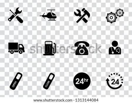 Vector customer center and service support icons set - repair tool illustrations