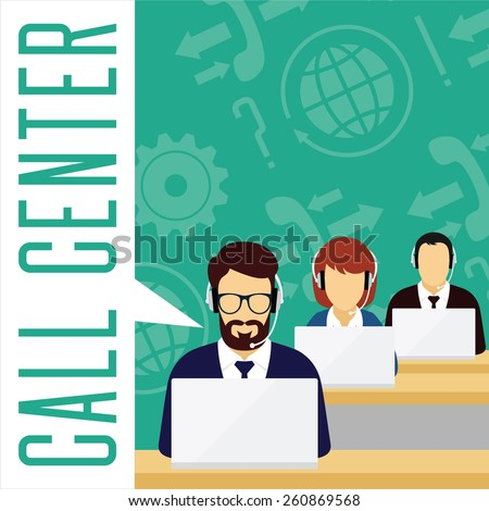 Vector customer service concept. Call center concept. Male and female avatars with a headset on symbol background.