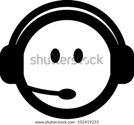 Vector customer service consultant with headset icon isolated